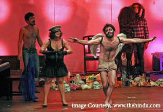i hate theatre...lebanese play.Photo.Hindu