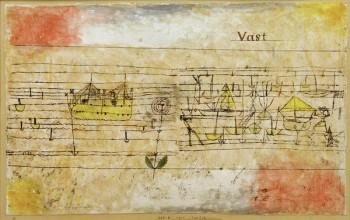 3-K216-Y38 P.Klee, VAST (Rosenhafen) Klee, Paul 1879-1940. 'VAST (Rosenhafen)', 1925. 8 Oelpause und Aquarell auf gipsgrundierter Gaze auf Karton, 36 x 58,8 cm. Schweiz, Privatbesitz. E: P.Klee, VAST (Harbour of Roses) / 1925 Klee, Paul 1879-1940. 'VAST (Rosenhafen)' (VAST (Harbour of Roses)), 1925. 8 Oil transfer and watercolur on plaster- primed gauze on cardboard, 36 x 58.8cm. Switzerland, private collection.