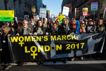 LONDON, ENGLAND - JANUARY 21: Protesters march from The US Embassy in Grosvenor Square towards Trafalgar Square during the Women's March on January 21, 2017 in London, England. The women's March originated in Washington DC but soon spread to be a global march calling on all concerned citizens to stand up for equality, diversity and inclusion and for women's rights to be recognised around the world as human rights. Global marches are now being held, on the same day, across seven continents. (Photo by Jack Taylor/Getty Images)
